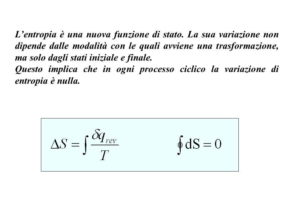 S tempo dS>0 processo spontaneo S max dS=0 equilibrio Lentropia di un sistema isolato aumenta sempre a seguito di un processo spontaneo, fino a raggiungere lo stato di massima entropia.