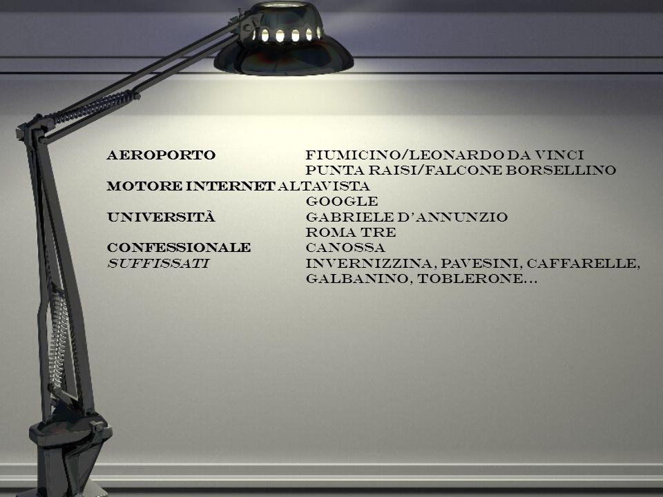AeroportoFiumicino/Leonardo da Vinci Punta Raisi/Falcone Borsellino Motore Internet Altavista Google UniversitàGabriele DAnnunzio Roma Tre Confessiona
