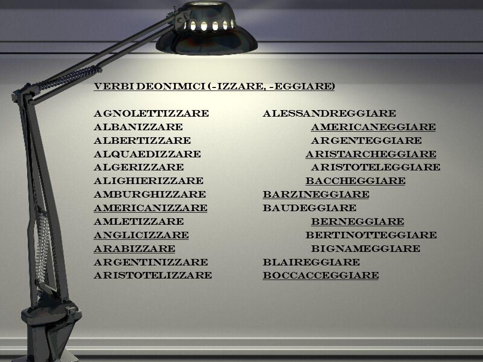Verbi deonimici (-izzare, -eggiare) agnolettizzarealessandreggiare albanizzareamericaneggiare albertizzareargenteggiare alquaedizzare aristarcheggiare