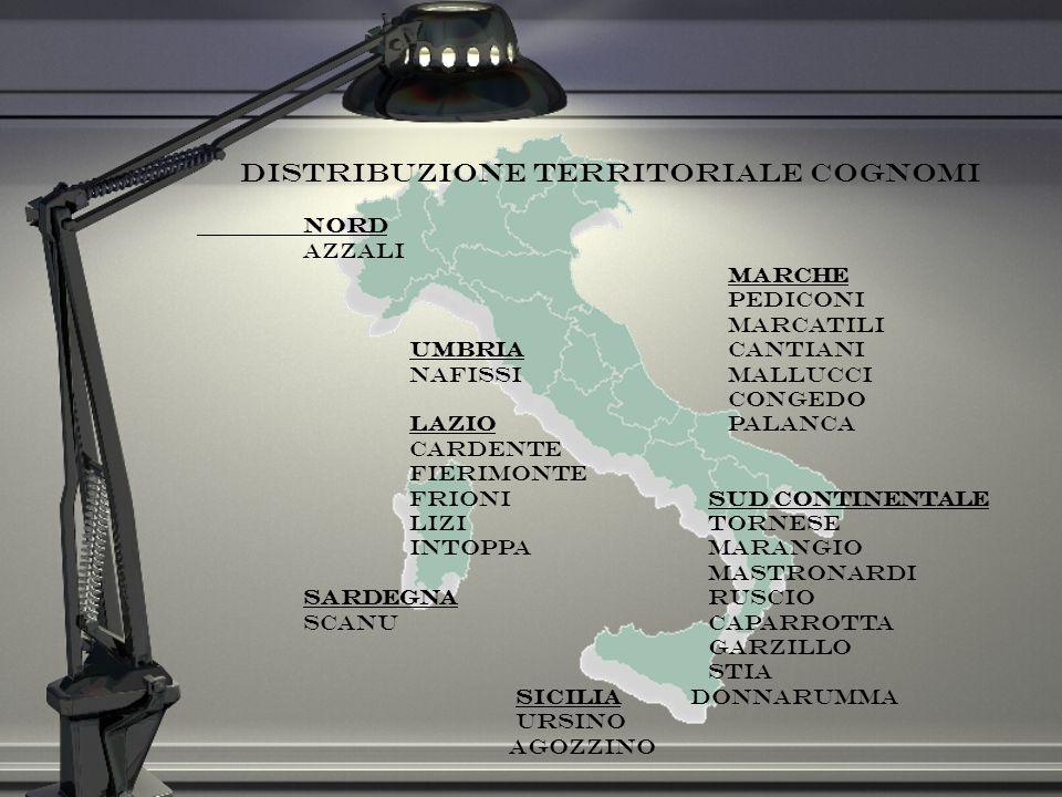 Distribuzione territoriale cognomi Nord Azzali Marche Pediconi Marcatili UmbriaCantiani NafissiMallucci Congedo Lazio Palanca Cardente Fierimonte Frio