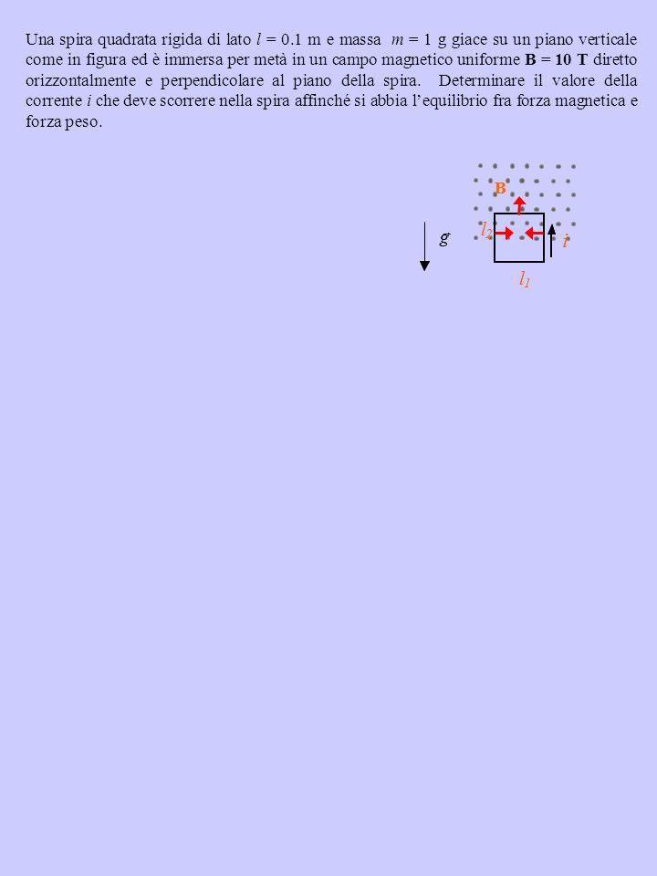 Una spira quadrata rigida di lato l = 0.1 m e massa m = 1 g giace su un piano verticale come in figura ed è immersa per metà in un campo magnetico uni