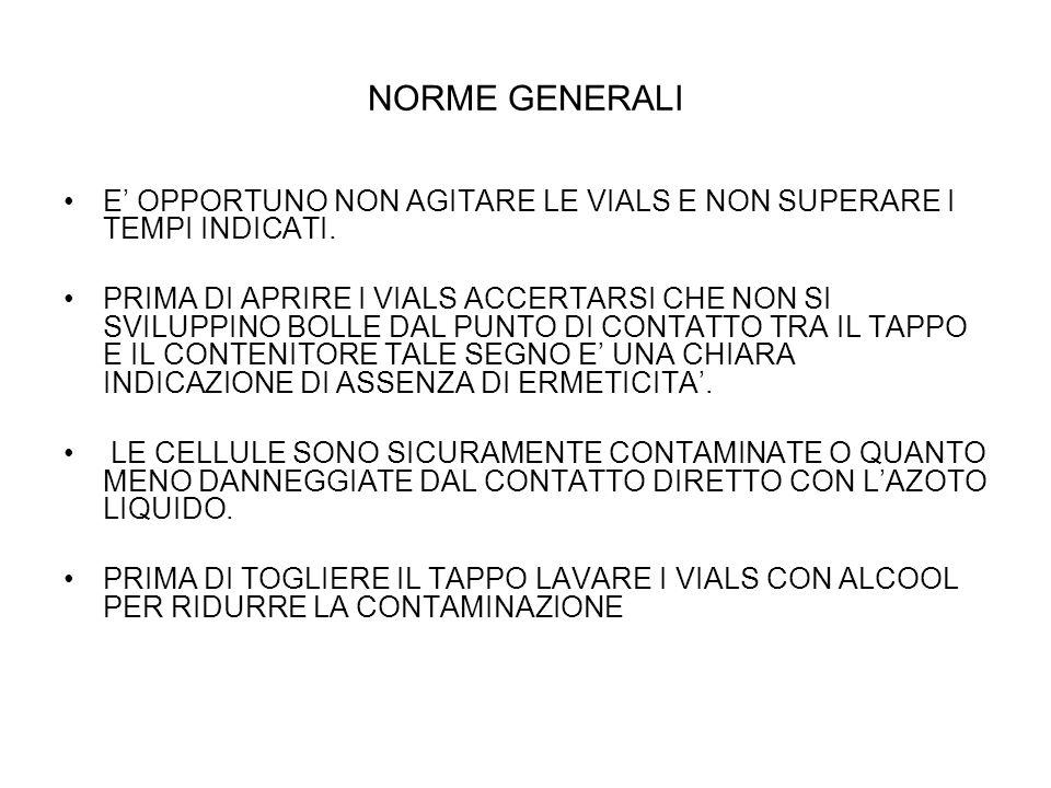 NORME GENERALI E OPPORTUNO NON AGITARE LE VIALS E NON SUPERARE I TEMPI INDICATI.