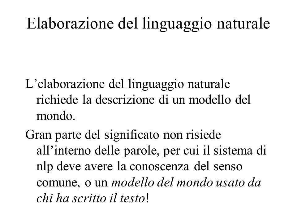 Elaborazione del linguaggio naturale Lelaborazione del linguaggio naturale richiede la descrizione di un modello del mondo.