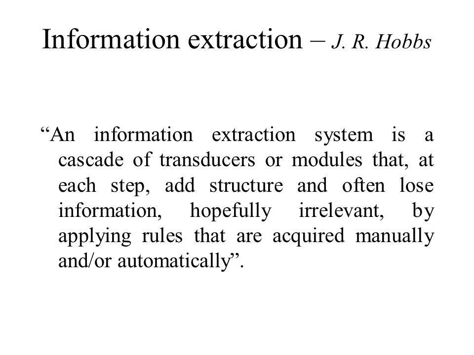 Information extraction – J. R.