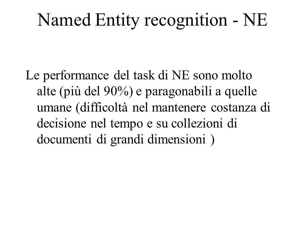 Named Entity recognition - NE Le performance del task di NE sono molto alte (più del 90%) e paragonabili a quelle umane (difficoltà nel mantenere costanza di decisione nel tempo e su collezioni di documenti di grandi dimensioni )