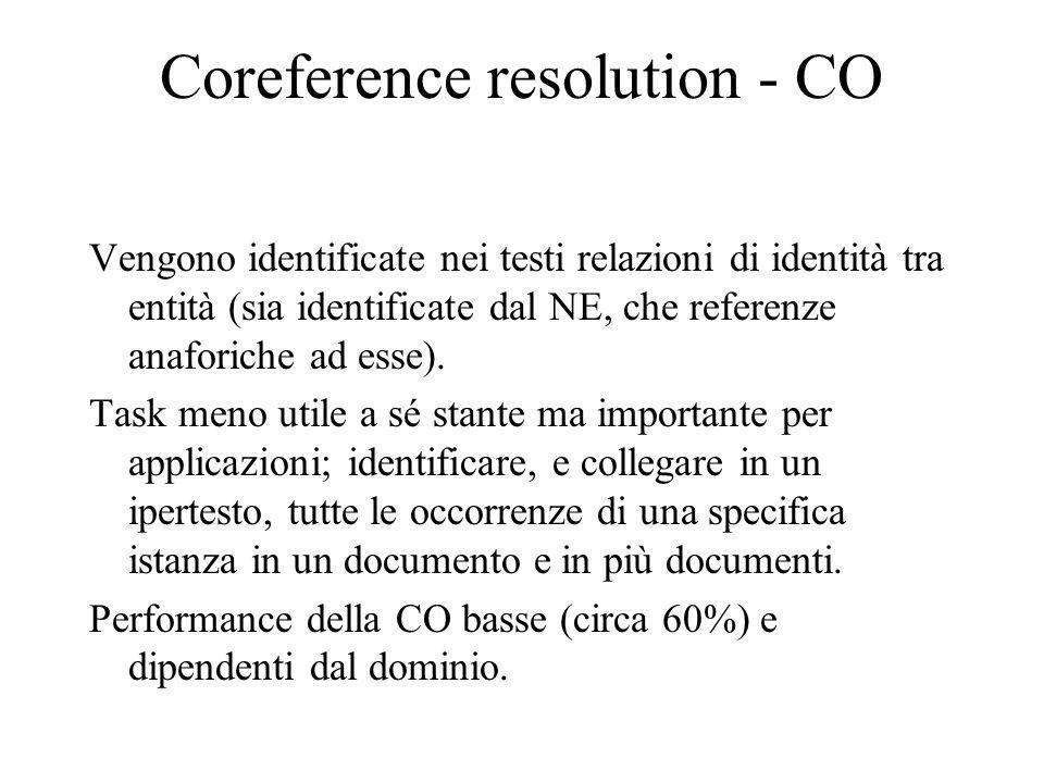 Coreference resolution - CO Vengono identificate nei testi relazioni di identità tra entità (sia identificate dal NE, che referenze anaforiche ad esse).