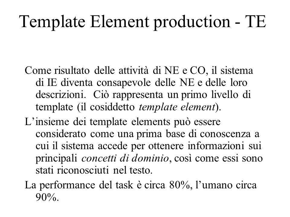 Template Element production - TE Come risultato delle attività di NE e CO, il sistema di IE diventa consapevole delle NE e delle loro descrizioni.