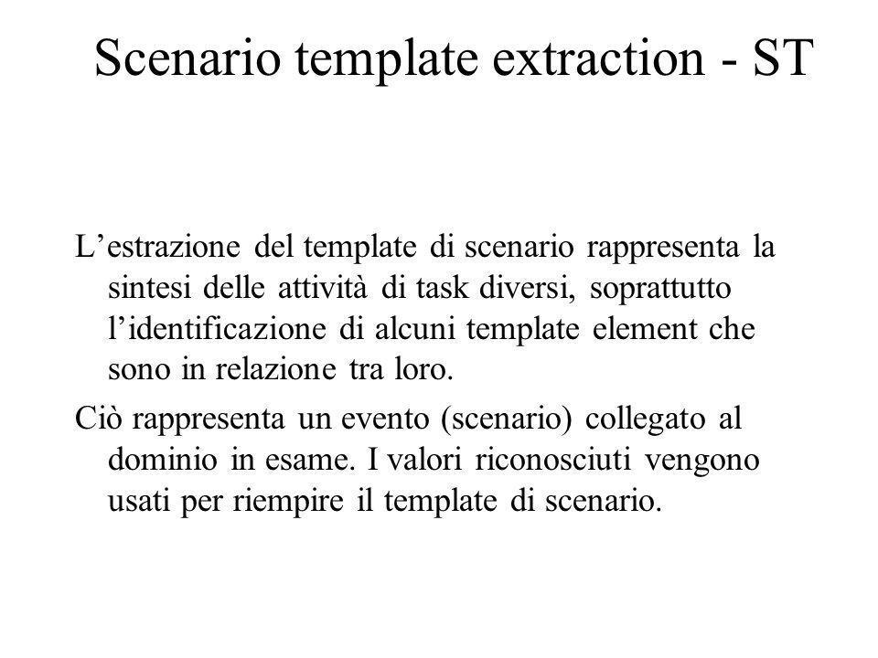 Scenario template extraction - ST Lestrazione del template di scenario rappresenta la sintesi delle attività di task diversi, soprattutto lidentificazione di alcuni template element che sono in relazione tra loro.