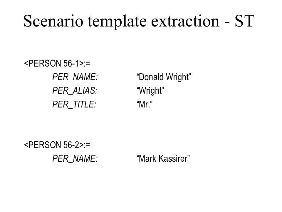 Scenario template extraction - ST := PER_NAME: Donald Wright PER_ALIAS: Wright PER_TITLE: Mr.
