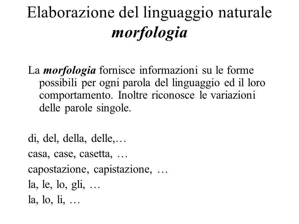 Elaborazione del linguaggio naturale morfologia La morfologia fornisce informazioni su le forme possibili per ogni parola del linguaggio ed il loro comportamento.