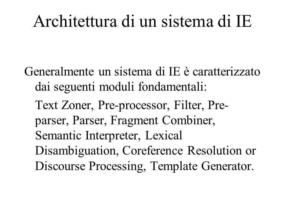 Architettura di un sistema di IE Generalmente un sistema di IE è caratterizzato dai seguenti moduli fondamentali: Text Zoner, Pre-processor, Filter, Pre- parser, Parser, Fragment Combiner, Semantic Interpreter, Lexical Disambiguation, Coreference Resolution or Discourse Processing, Template Generator.