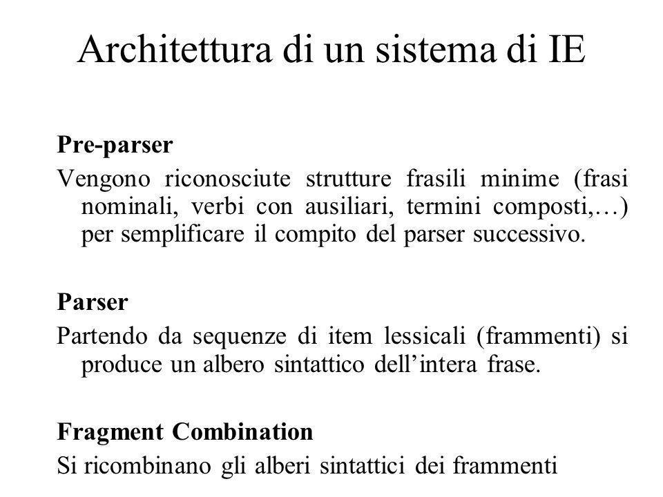 Architettura di un sistema di IE Pre-parser Vengono riconosciute strutture frasili minime (frasi nominali, verbi con ausiliari, termini composti,…) per semplificare il compito del parser successivo.