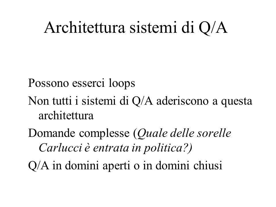 Architettura sistemi di Q/A Possono esserci loops Non tutti i sistemi di Q/A aderiscono a questa architettura Domande complesse (Quale delle sorelle Carlucci è entrata in politica?) Q/A in domini aperti o in domini chiusi