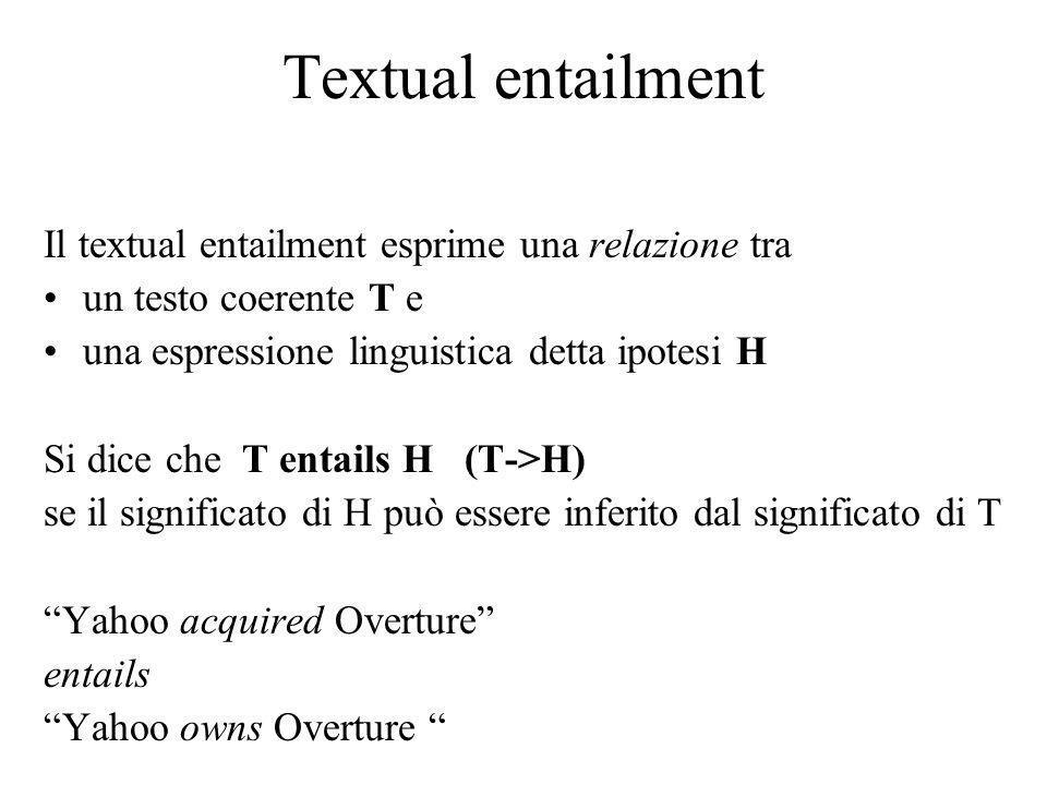 Textual entailment Il textual entailment esprime una relazione tra un testo coerente T e una espressione linguistica detta ipotesi H Si dice che T entails H (T->H) se il significato di H può essere inferito dal significato di T Yahoo acquired Overture entails Yahoo owns Overture