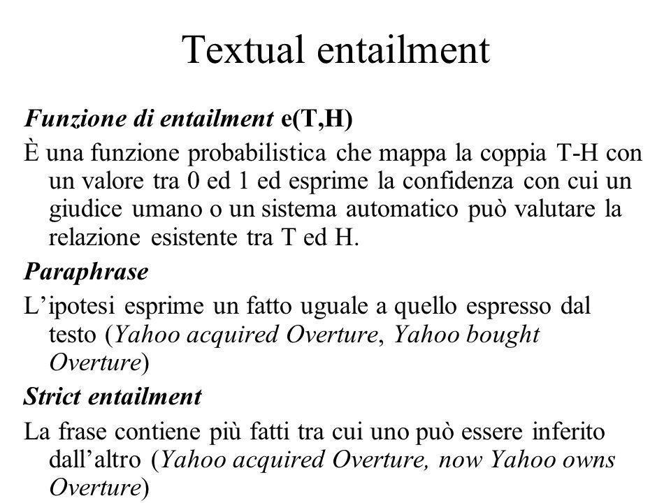 Textual entailment Funzione di entailment e(T,H) È una funzione probabilistica che mappa la coppia T-H con un valore tra 0 ed 1 ed esprime la confidenza con cui un giudice umano o un sistema automatico può valutare la relazione esistente tra T ed H.
