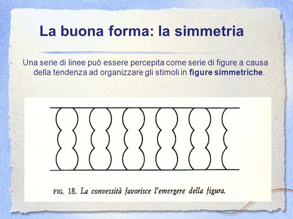 La buona forma: la simmetria Una serie di linee può essere percepita come serie di figure a causa della tendenza ad organizzare gli stimoli in figure