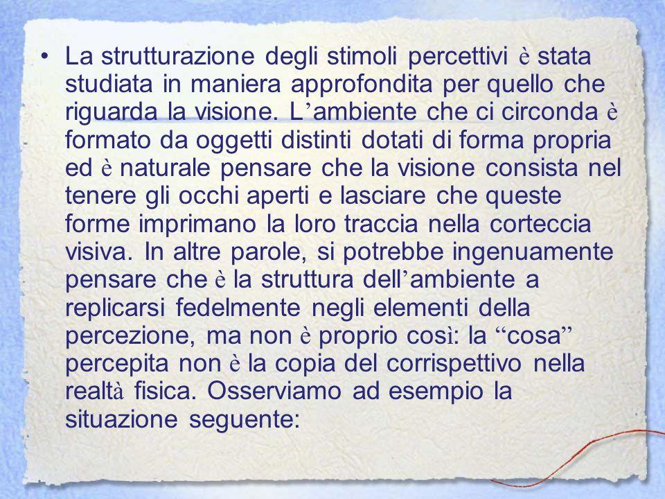 La strutturazione degli stimoli percettivi è stata studiata in maniera approfondita per quello che riguarda la visione. L ambiente che ci circonda è f