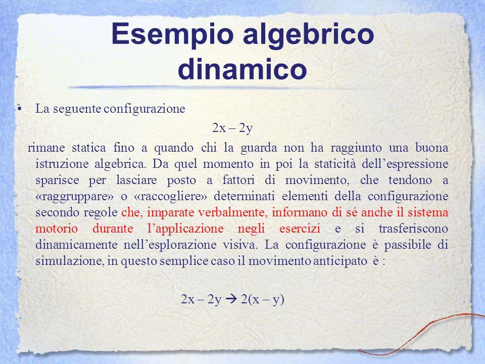Esempio algebrico dinamico La seguente configurazione 2x – 2y rimane statica fino a quando chi la guarda non ha raggiunto una buona istruzione algebri