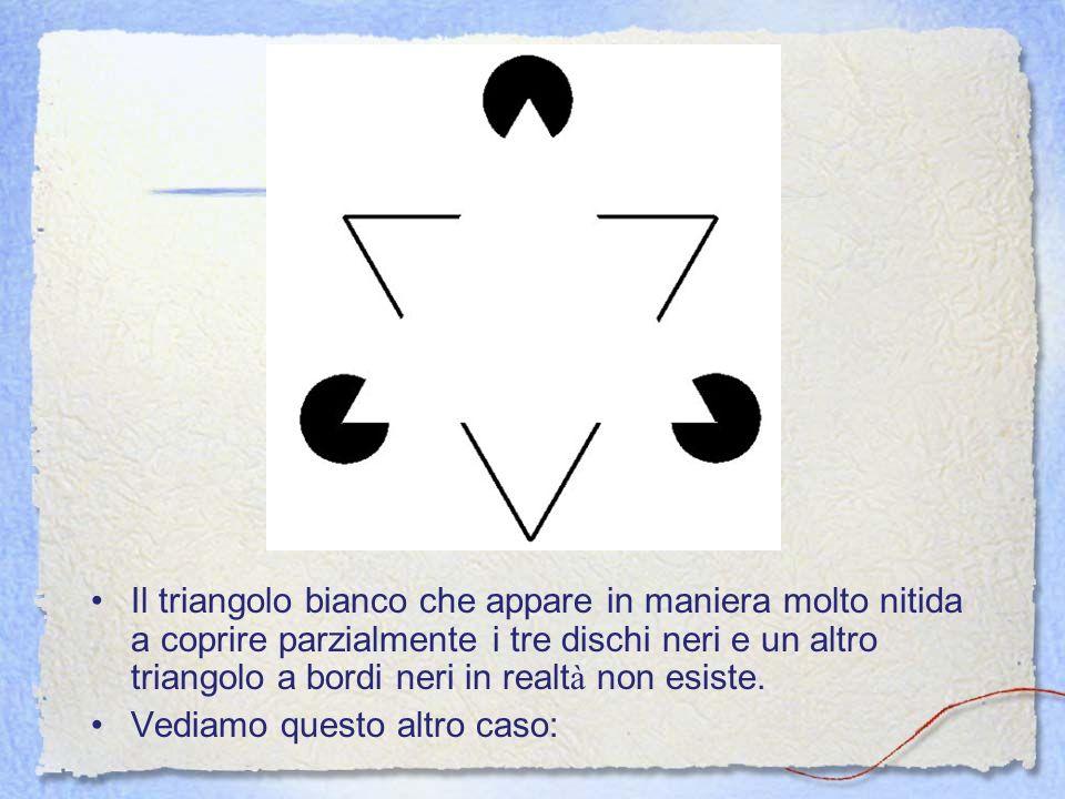 Il triangolo bianco che appare in maniera molto nitida a coprire parzialmente i tre dischi neri e un altro triangolo a bordi neri in realt à non esist