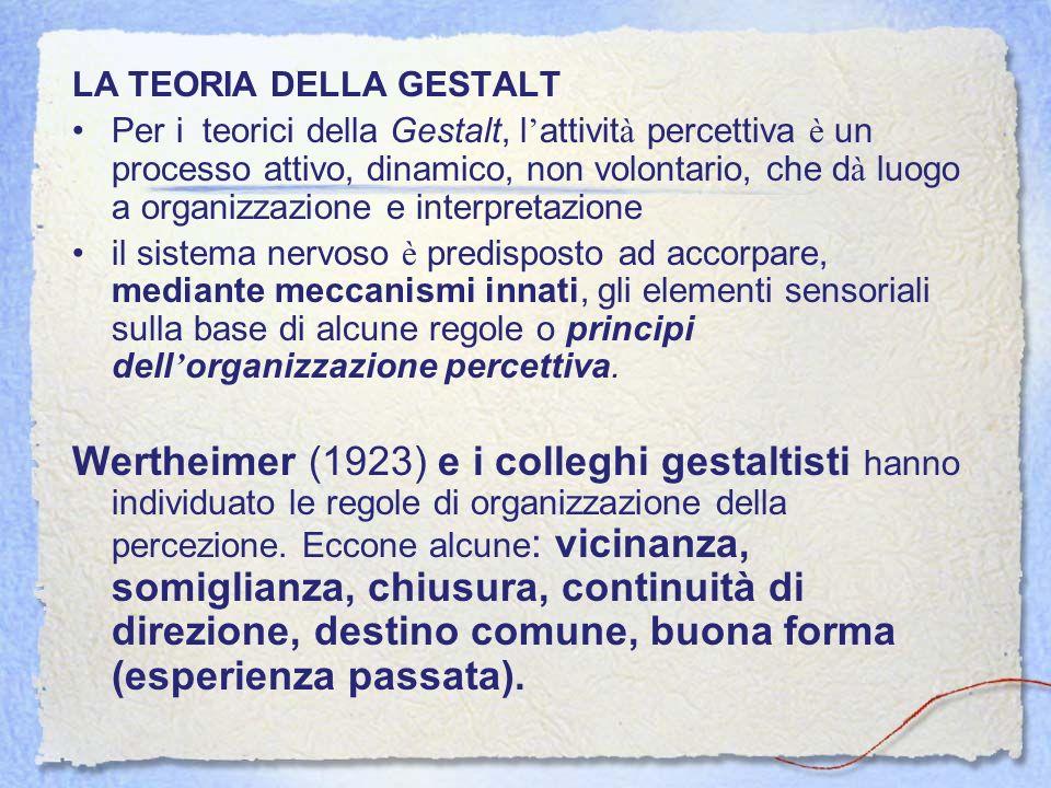 LA TEORIA DELLA GESTALT Per i teorici della Gestalt, l attivit à percettiva è un processo attivo, dinamico, non volontario, che d à luogo a organizzaz