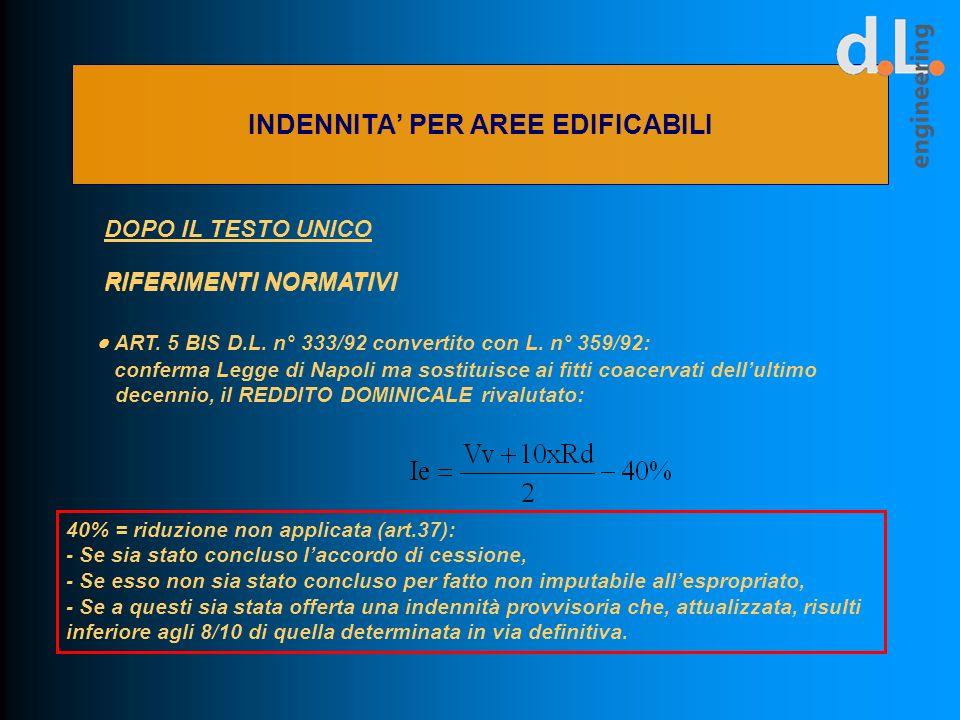 DOPO IL TESTO UNICO RIFERIMENTI NORMATIVI ART. 5 BIS D.L. n° 333/92 convertito con L. n° 359/92: conferma Legge di Napoli ma sostituisce ai fitti coac