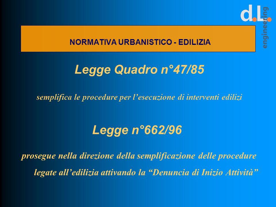 Legge Quadro n°47/85 semplifica le procedure per lesecuzione di interventi edilizi prosegue nella direzione della semplificazione delle procedure lega