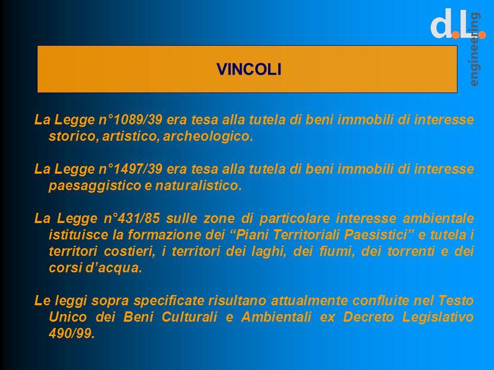 VINCOLI La Legge n°1089/39 era tesa alla tutela di beni immobili di interesse storico, artistico, archeologico. La Legge n°1497/39 era tesa alla tutel