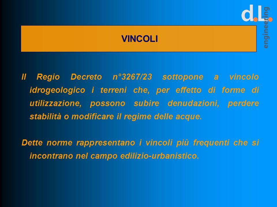 VINCOLI Il Regio Decreto n°3267/23 sottopone a vincolo idrogeologico i terreni che, per effetto di forme di utilizzazione, possono subire denudazioni,