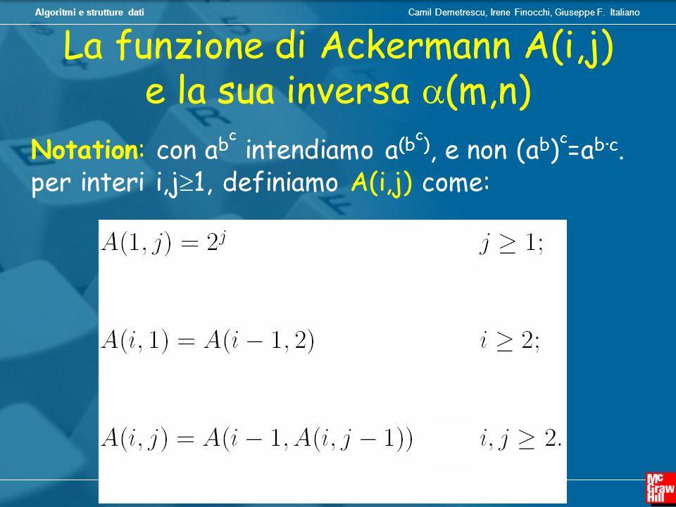 Camil Demetrescu, Irene Finocchi, Giuseppe F. ItalianoAlgoritmi e strutture dati La funzione di Ackermann A(i,j) e la sua inversa (m,n) Notation: con