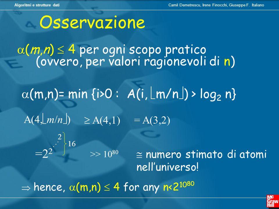 Camil Demetrescu, Irene Finocchi, Giuseppe F. ItalianoAlgoritmi e strutture dati (m,n) 4 per ogni scopo pratico (ovvero, per valori ragionevoli di n)