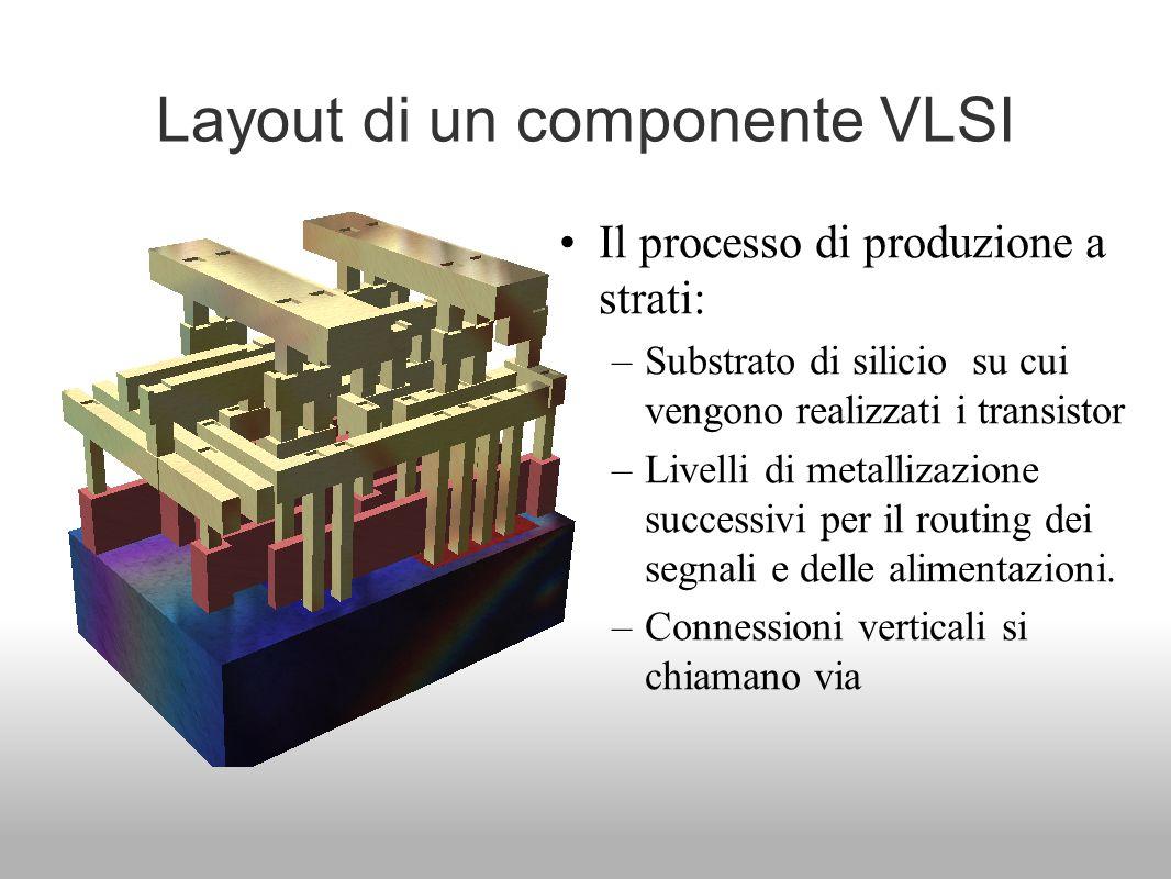 Layout di un componente VLSI Il processo di produzione a strati: –Substrato di silicio su cui vengono realizzati i transistor –Livelli di metallizazio