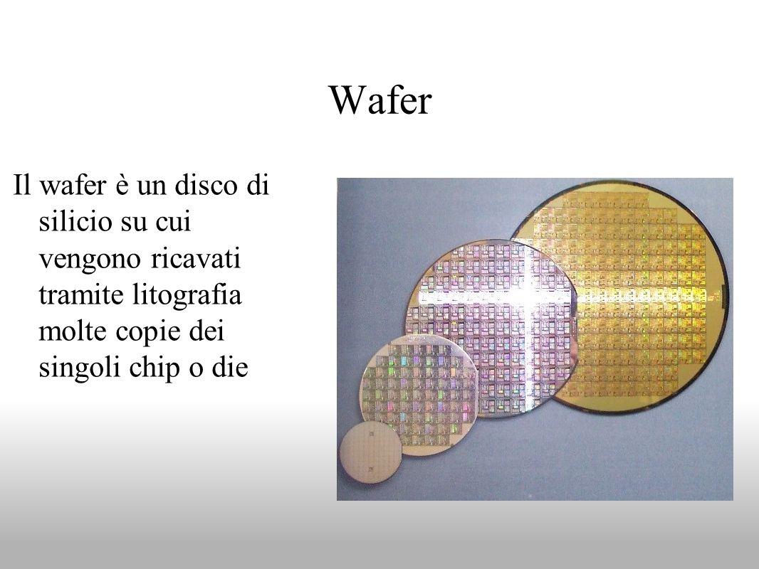 Wafer Il wafer è un disco di silicio su cui vengono ricavati tramite litografia molte copie dei singoli chip o die