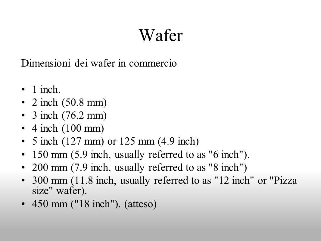 Wafer Dimensioni dei wafer in commercio 1 inch. 2 inch (50.8 mm) 3 inch (76.2 mm) 4 inch (100 mm) 5 inch (127 mm) or 125 mm (4.9 inch) 150 mm (5.9 inc
