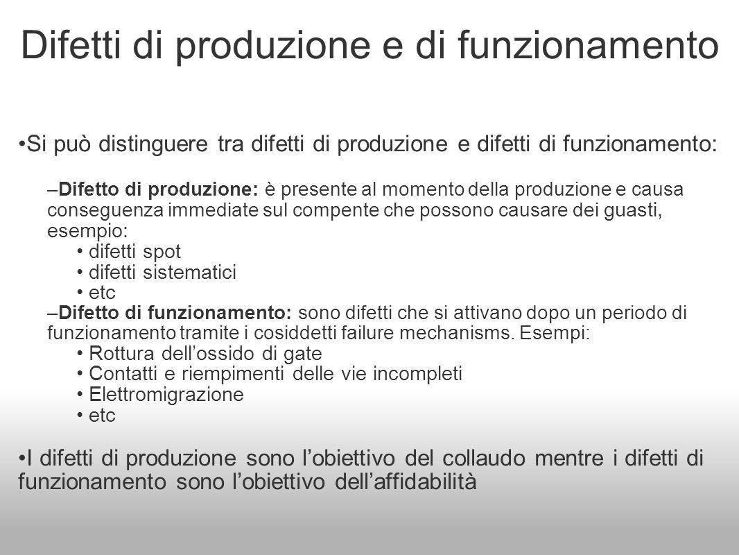 Difetti di produzione e di funzionamento Si può distinguere tra difetti di produzione e difetti di funzionamento: –Difetto di produzione: è presente a