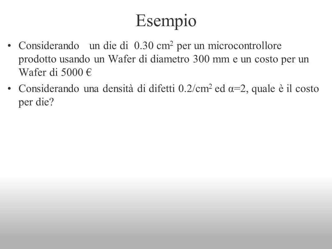 Esempio Considerando un die di 0.30 cm 2 per un microcontrollore prodotto usando un Wafer di diametro 300 mm e un costo per un Wafer di 5000 Considera