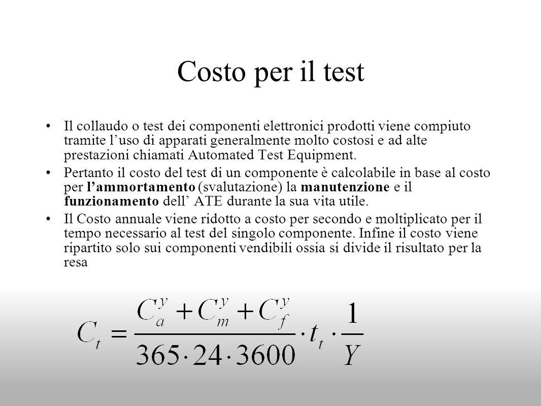 Costo per il test Il collaudo o test dei componenti elettronici prodotti viene compiuto tramite luso di apparati generalmente molto costosi e ad alte