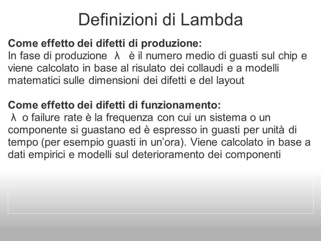 Definizioni di Lambda Come effetto dei difetti di produzione: In fase di produzione λ è il numero medio di guasti sul chip e viene calcolato in base a