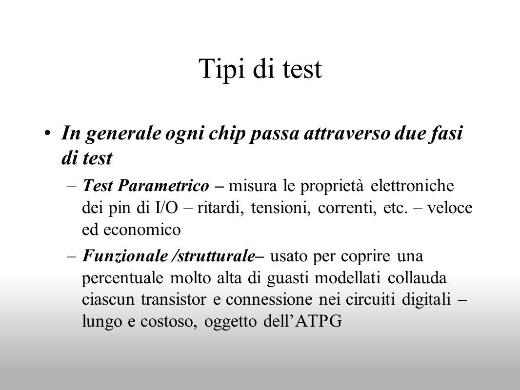Tipi di test In generale ogni chip passa attraverso due fasi di test –Test Parametrico – misura le proprietà elettroniche dei pin di I/O – ritardi, te