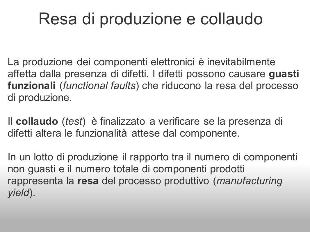 Resa di produzione e collaudo La produzione dei componenti elettronici è inevitabilmente affetta dalla presenza di difetti. I difetti possono causare