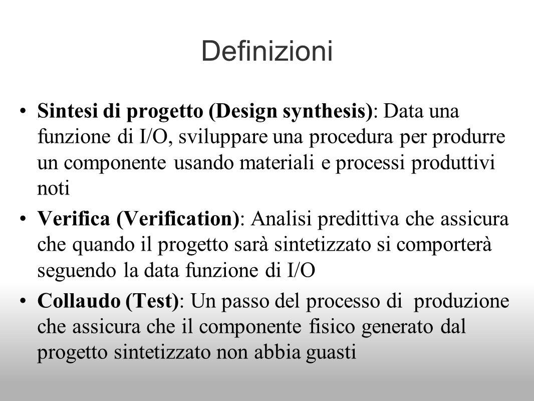 Definizioni Sintesi di progetto (Design synthesis): Data una funzione di I/O, sviluppare una procedura per produrre un componente usando materiali e p