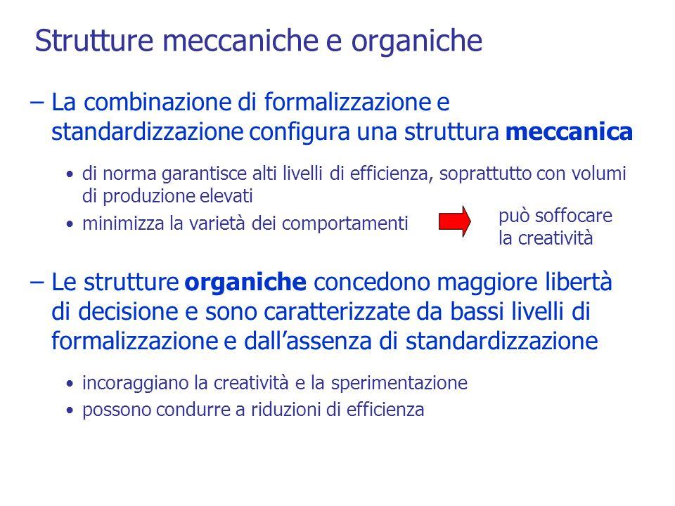 Strutture meccaniche e organiche –La combinazione di formalizzazione e standardizzazione configura una struttura meccanica di norma garantisce alti livelli di efficienza, soprattutto con volumi di produzione elevati minimizza la varietà dei comportamenti –Le strutture organiche concedono maggiore libertà di decisione e sono caratterizzate da bassi livelli di formalizzazione e dallassenza di standardizzazione incoraggiano la creatività e la sperimentazione possono condurre a riduzioni di efficienza può soffocare la creatività