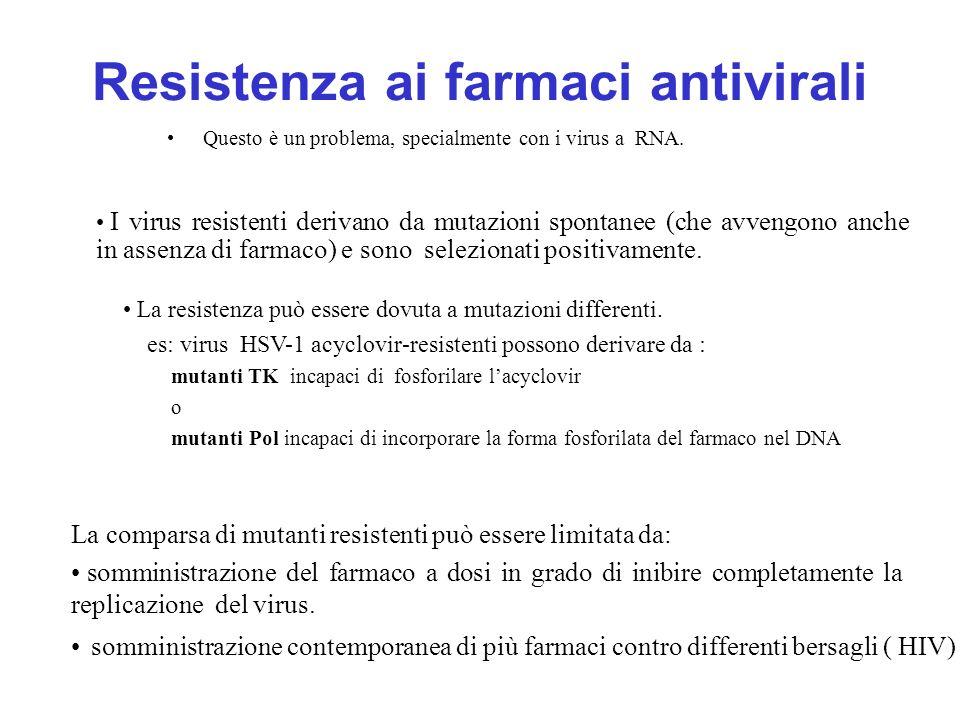 Resistenza ai farmaci antivirali Questo è un problema, specialmente con i virus a RNA. somministrazione contemporanea di più farmaci contro differenti