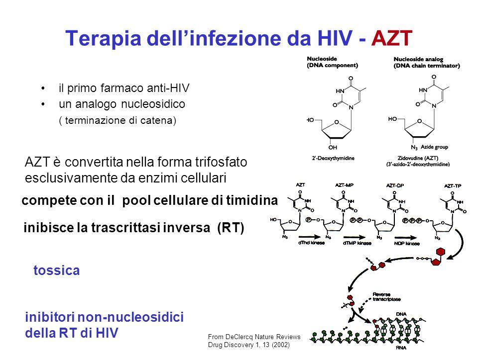 la proteasi di HIV è importante per la maturazione del virus ( inibizione del assemblaggio di HIV) Il primo farmaco derivato da studi di disegno dei farmaci (cristallizzazione della proteasi e studi di peptidomimica) From Flint el at Principles of Virology ASM Press Terapia dellinfezione da HIV - inibitori di Proteasi