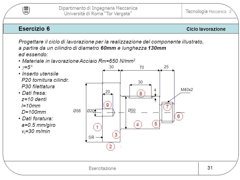 Ø58Ø20 Ø50 25 70 30 M40x2 20 30 4 1 2 3 4 5 6 7 8 9 SR Esercizio 6 Ciclo lavorazione Dipartimento di Ingegneria Meccanica Università di Roma Tor Verga