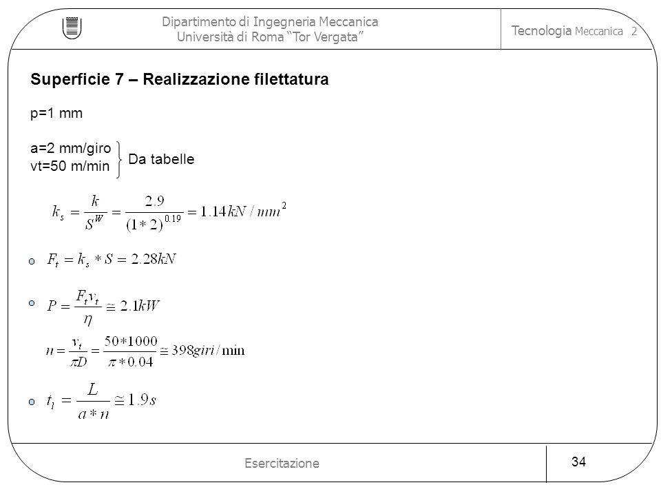 Dipartimento di Ingegneria Meccanica Università di Roma Tor Vergata Tecnologia Meccanica 2 Esercitazione 34 Superficie 7 – Realizzazione filettatura p