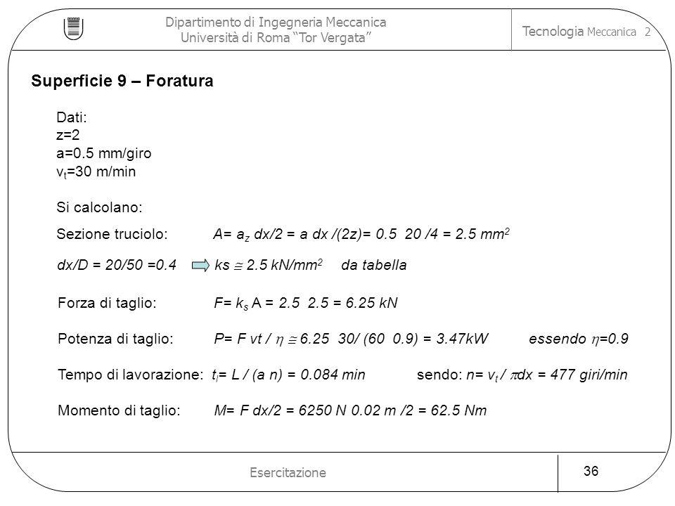 Dipartimento di Ingegneria Meccanica Università di Roma Tor Vergata Tecnologia Meccanica 2 Esercitazione 36 dx/D = 20/50 =0.4 ks 2.5 kN/mm 2 da tabell