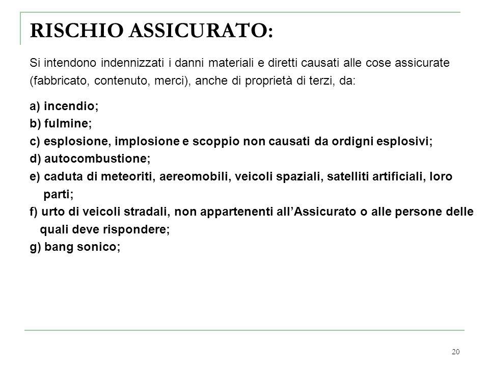 20 RISCHIO ASSICURATO: Si intendono indennizzati i danni materiali e diretti causati alle cose assicurate (fabbricato, contenuto, merci), anche di pro