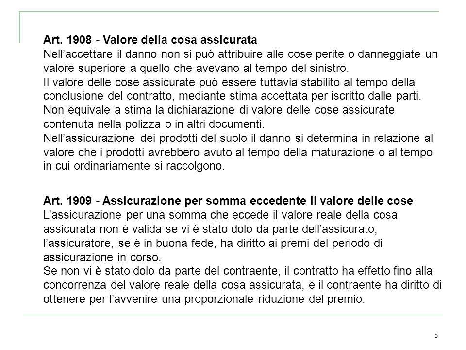 5 Art. 1908 - Valore della cosa assicurata Nellaccettare il danno non si può attribuire alle cose perite o danneggiate un valore superiore a quello ch