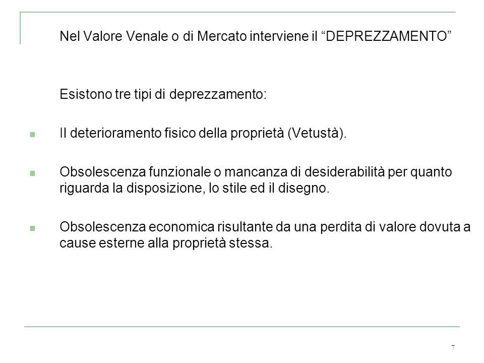 7 Nel Valore Venale o di Mercato interviene il DEPREZZAMENTO Esistono tre tipi di deprezzamento: Il deterioramento fisico della proprietà (Vetustà). O