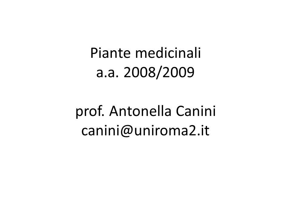 Piante medicinali a.a. 2008/2009 prof. Antonella Canini canini@uniroma2.it